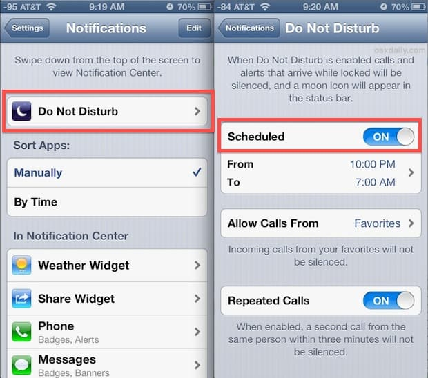 activate the scheduling feature on your iPhone
